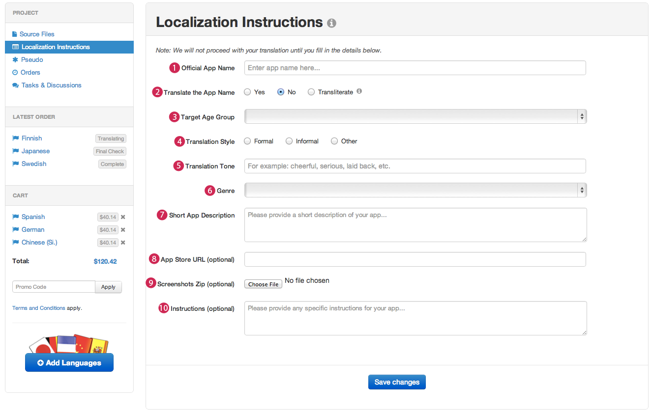 A screenshot that shows the localization instructions view.
