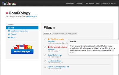 A screenshot that shows warnings and errors on file upload.