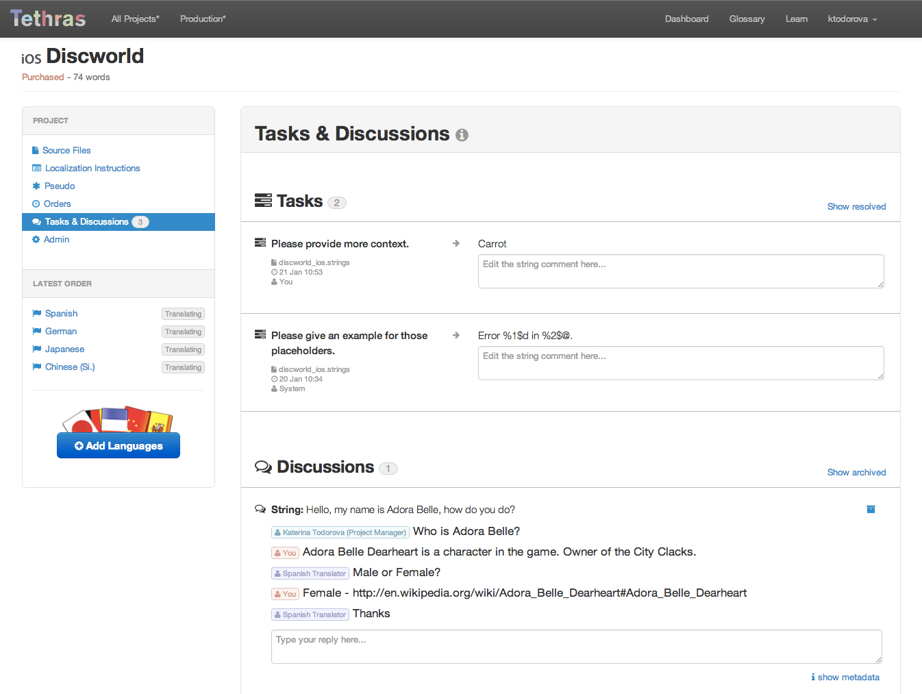 The improved tethras discussions system, and the new tasks.
