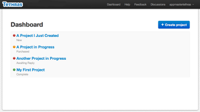A screenshot that shows the project statuses.